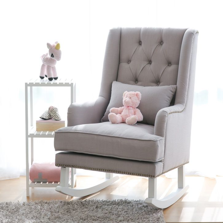 Alba Linen Tufted Rocking Chair, Feeding Chairs
