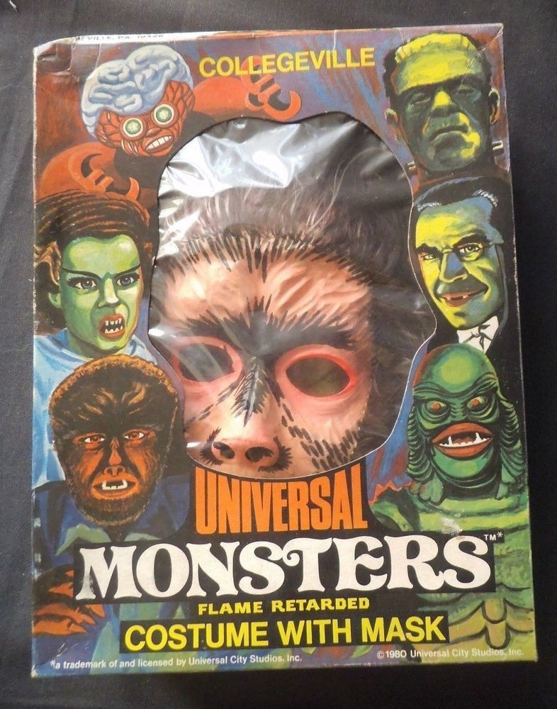 Collegeville Universal Monsters Wolfman Halloween Costume Mask With Box 1980 Halloween Costume Mask Universal Monsters The Mask Costume
