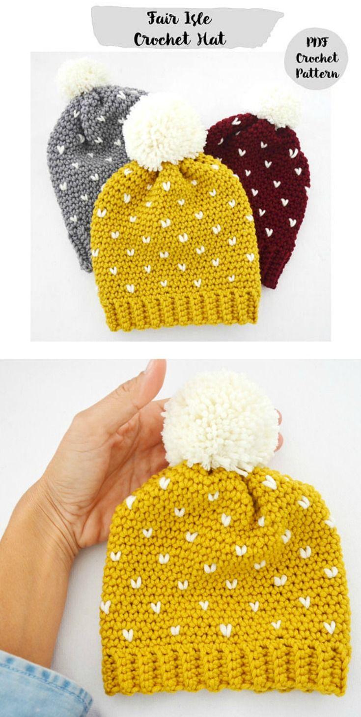 Crochet Pattern Fair Isle Slouchy Beanie Hat, Step by Step ...