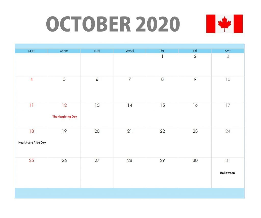 October 2020 Canada Holidays Calendar | Holiday calendar ...