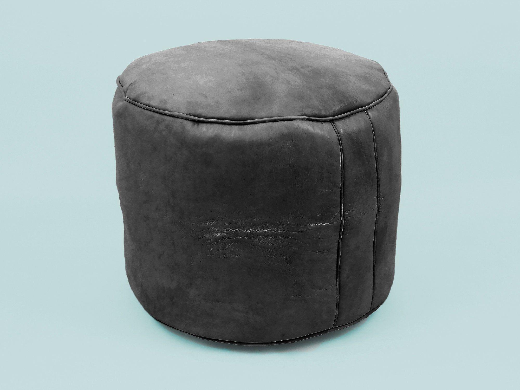 Peachy Black Leather Pouf Moroccan Leather Pouf Leather Ottoman Inzonedesignstudio Interior Chair Design Inzonedesignstudiocom