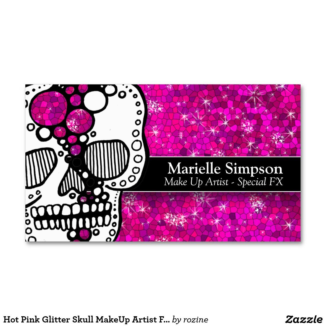 Hot Pink Glitter Skull MakeUp Artist Face Painter Business Card ...