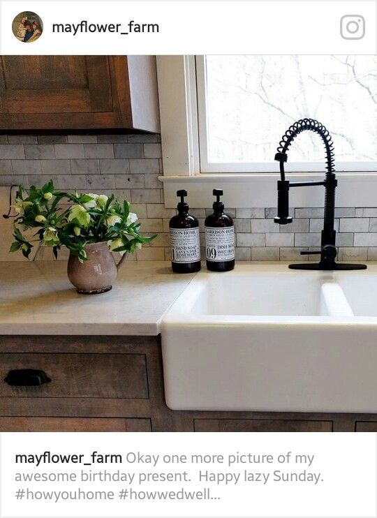 Love This Farmhouse Kitchen Sink, Faucet, Marble Backsplash Against Rustic  Wood Cabinets. Gorgeous