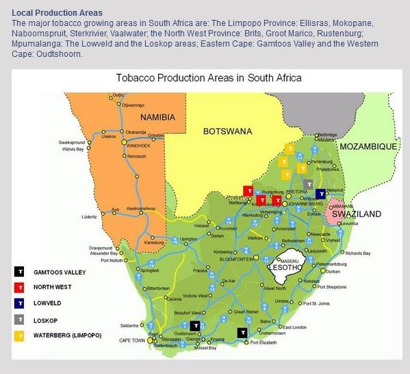 South Africa tobacco production areas Tobacco Production Pinterest