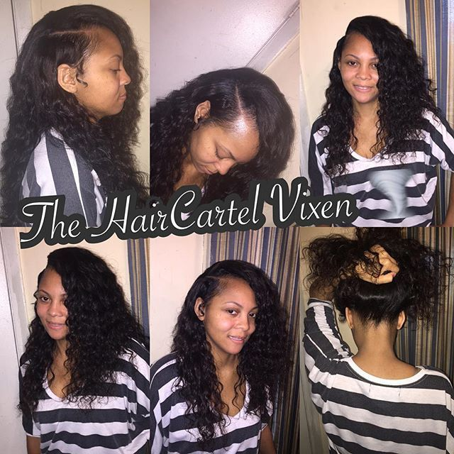 Flawless sew-in with deep wave hair and deep side part... @asian_persuasion_195