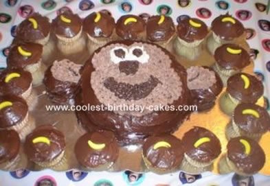 Monkey Cupcakes: I made these monkey cupcakes for my daughters 9th birthday!  She loves monkeys!  I used the Wilton animal cake pan.  I cut off the ears and placed them