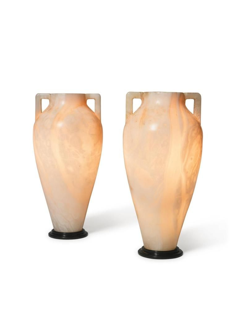A Pair Of Carved Alabaster Vases Now Fitted As Lamps Mid 20th