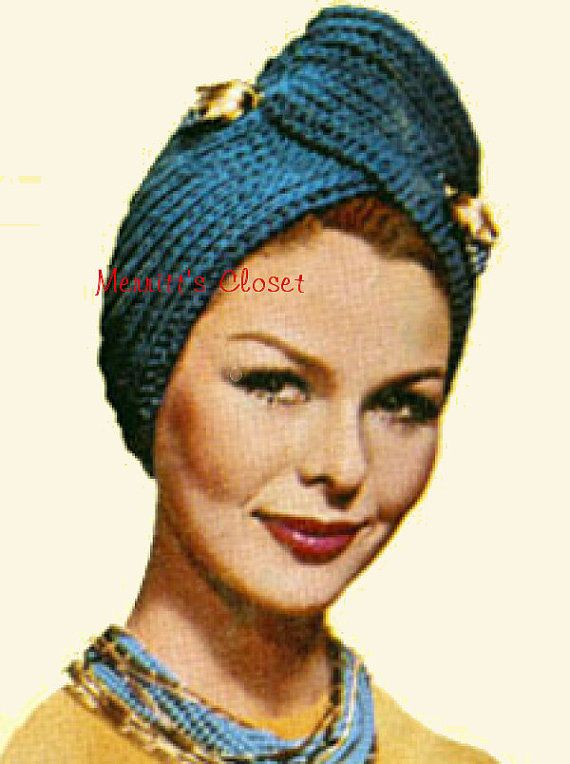 INSTANT DOWNLOAD PDF Vintage Pattern Knitted Turban Head Wrap | KNIT ...
