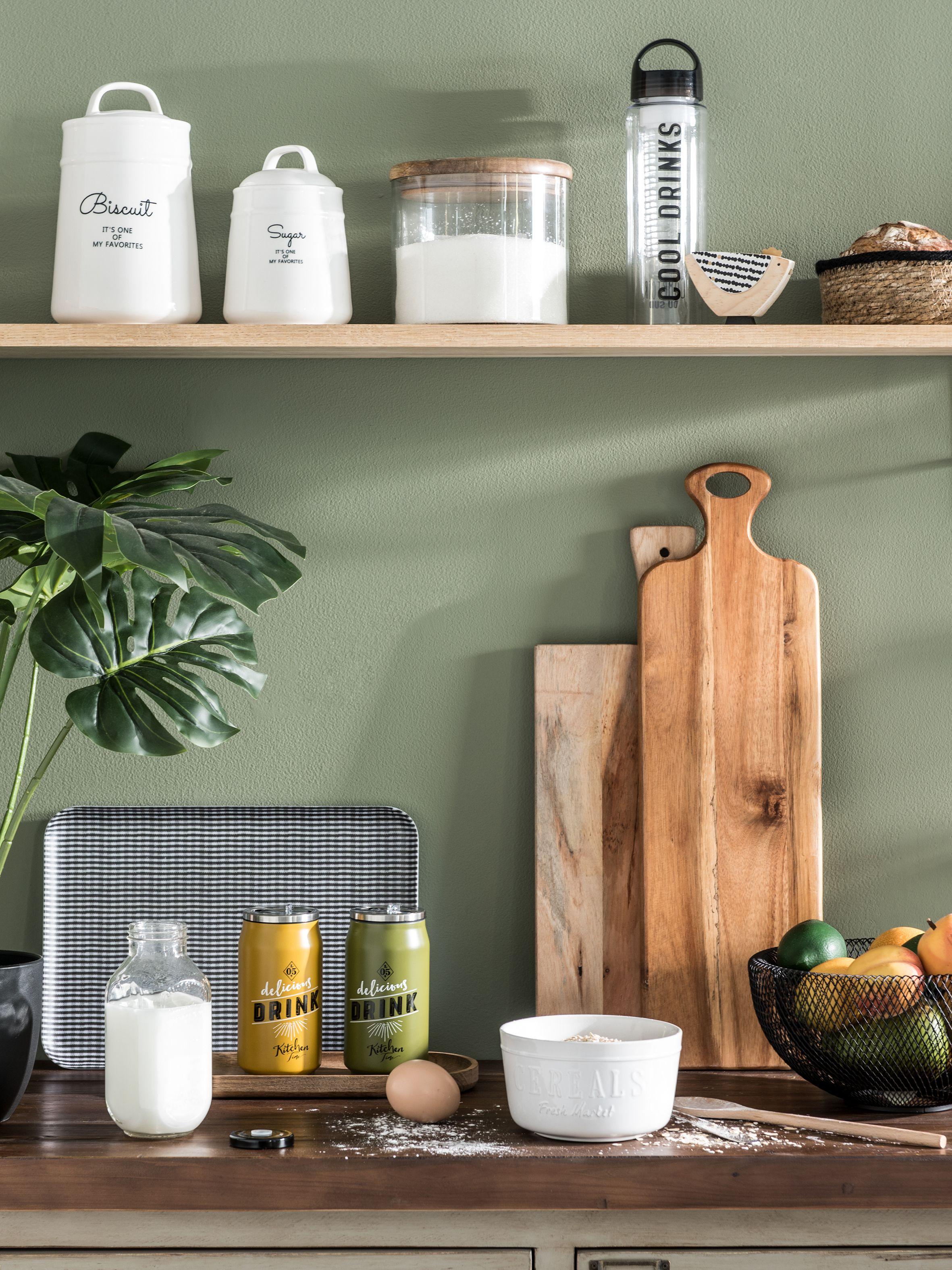 cuisine avec une décoration bucolique plante monstera feuilles mur