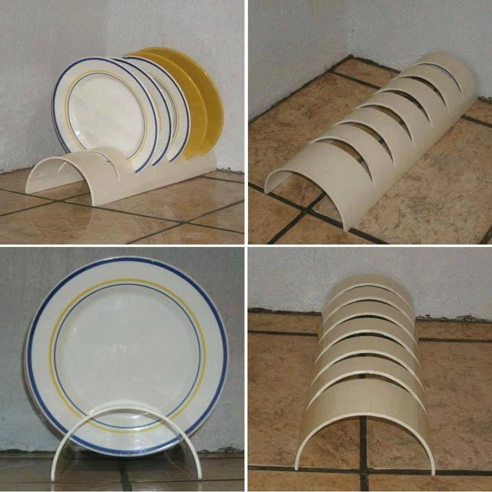 Diy soporte para platos hecho con ca o pvc tubos de pvc - Rack para platos ...