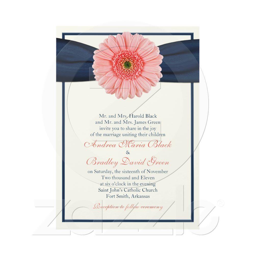 Coral Gerbera Navy Ribbon Wedding Invitation Wedding Gerbera And Navy