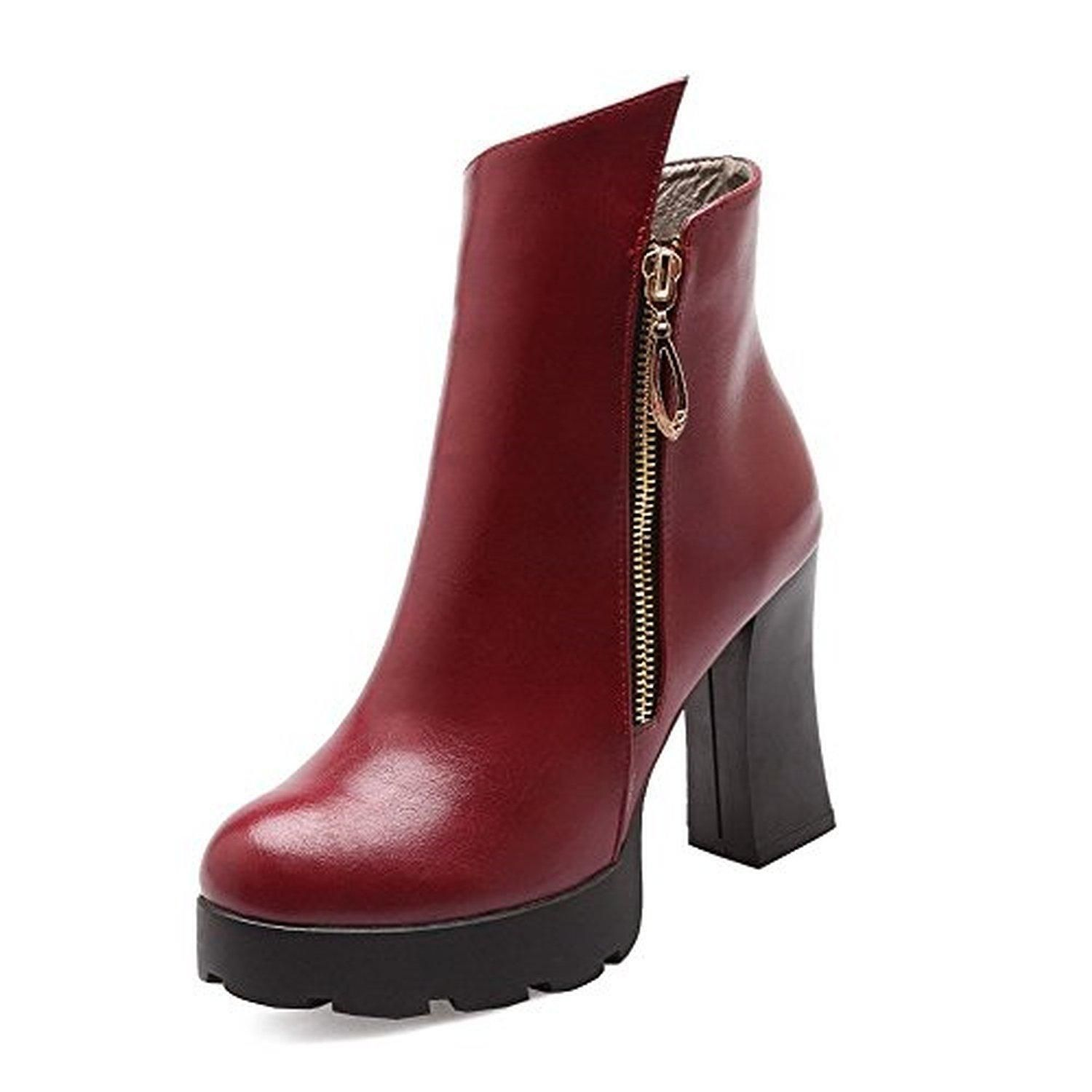 Women's Blend Materials Solid Closed-Toe Boots With Platform and Chunky Heels
