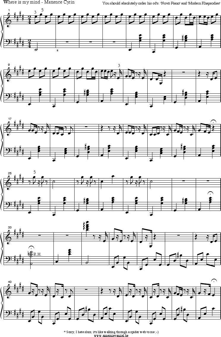 Where is my mind maxence cyrin piano sheet music   Piano sheet ...