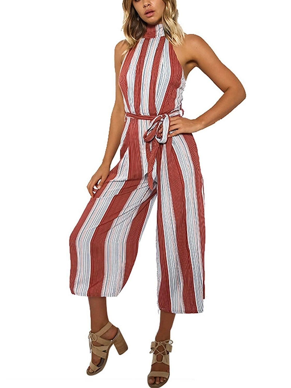 fa736291b5e3 Women s Stripe Halter Neck Sleeveless High Waist Wide Leg Jumpsuit ...