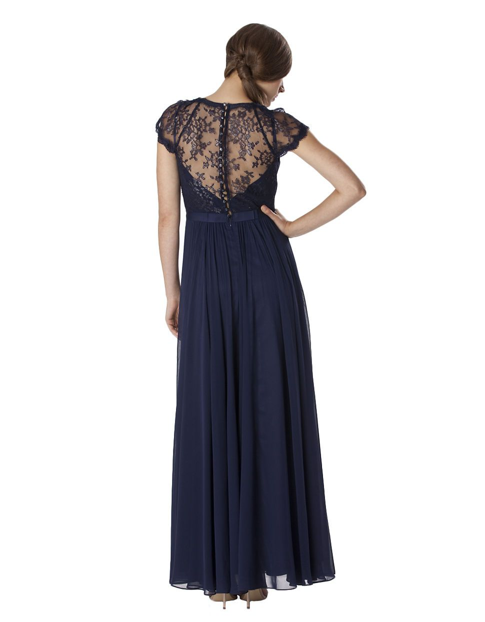 Pleated Chiffon Lace Cap Sleeve Gown | Lord and Taylor | wedding ...