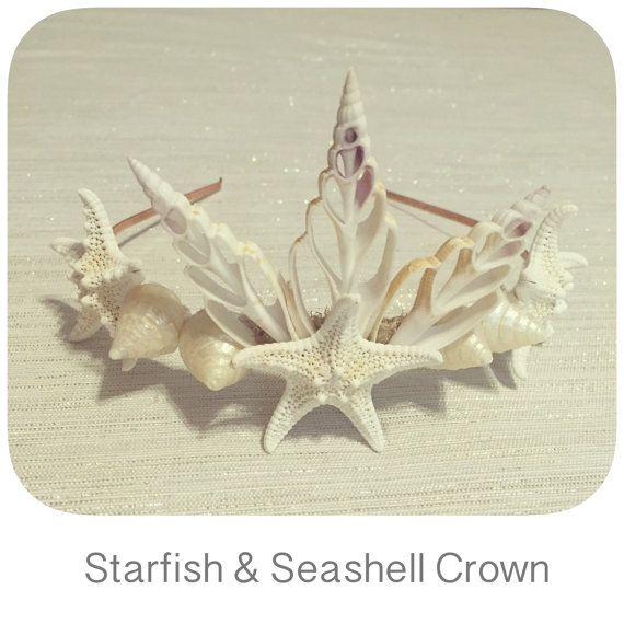 Beach Wedding Hair Piece Mermaid Costume Headband Seashell Crown Gilded starfish crown Sea shell tiara Starfish hair accessories Evil queen