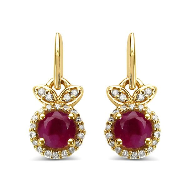 Yellow Gold Over 925 Sterling Silver Red Ruby & White CZ Leverback