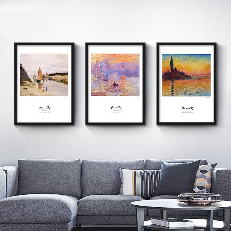 Nordic Modernen Minimalistischen Wohnzimmer Wohnkultur Malerei Kein Rahmen  Strand Abstrakte Gemälde Claude Monet Handgemalten Wandkunst Bild