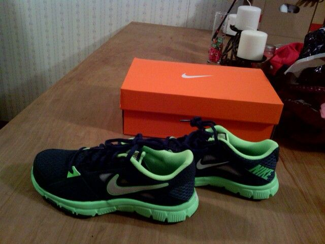 Trey's new shoes for school (navy and lime green)