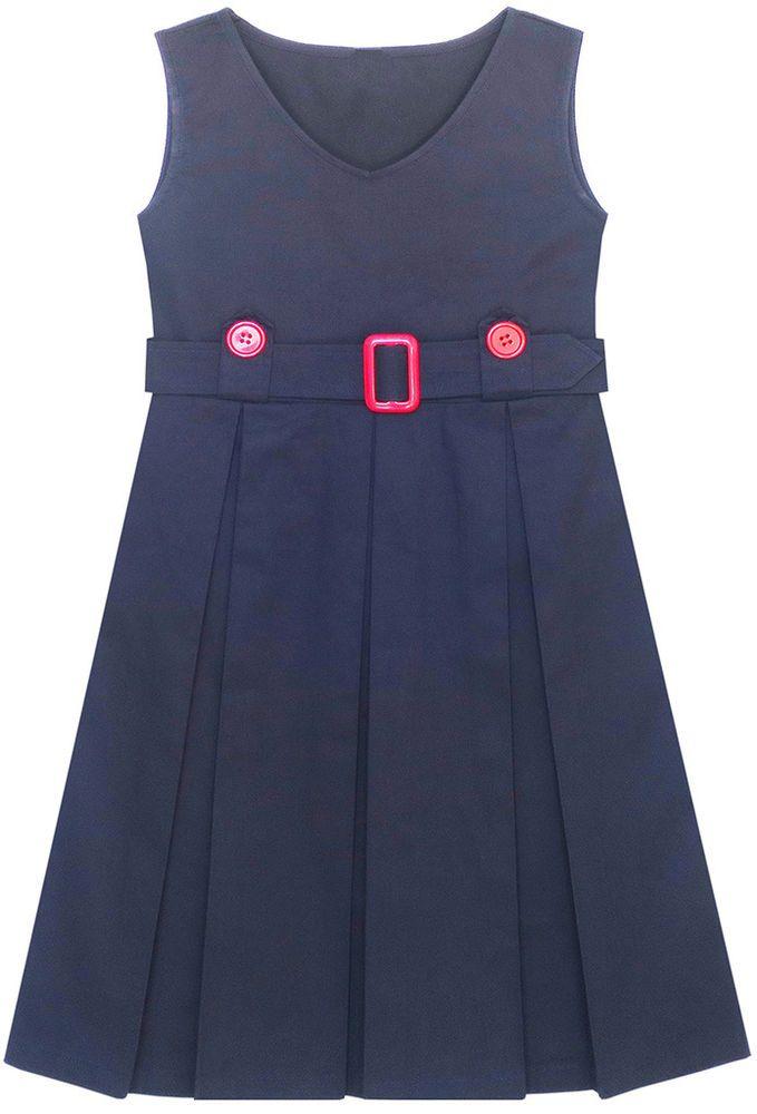 Mädchen Kleid Marine Blau Zurück Schule Uniform Gefaltet Saum Gr ...