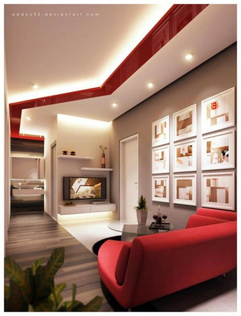 Living Room  Comfortable Red White Contemporary Living Room Inspiration Wall Living Room Decorating Ideas Design Ideas