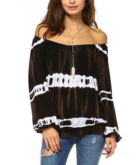 29776cb5a1802 Urban X Black   White Tie-Dye Off-Shoulder Top