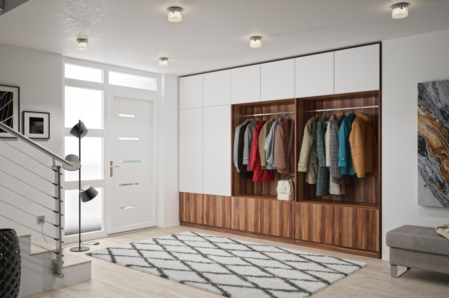 Ein Massgefertigter Garderobenschrank Fugt Sich Perfekt In Deine Nische Im Flur Ein So Kannst Du Alle Jacken U Garderobe Schrank Garderobenschrank Ideales Haus