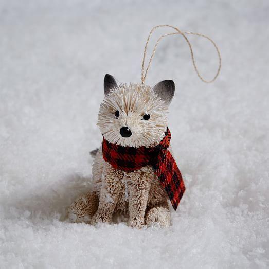 Bottle Brush Ornament - Baby Fox + Scarf | west elm | Holiday ...