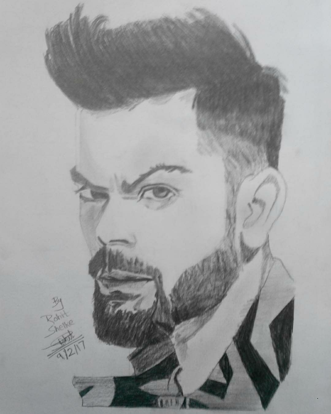 Realistic virat kohli pencil sketch by me india