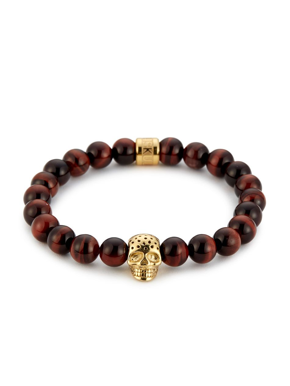 Northskull red tiger eye u perforated gold skull charm bracelet