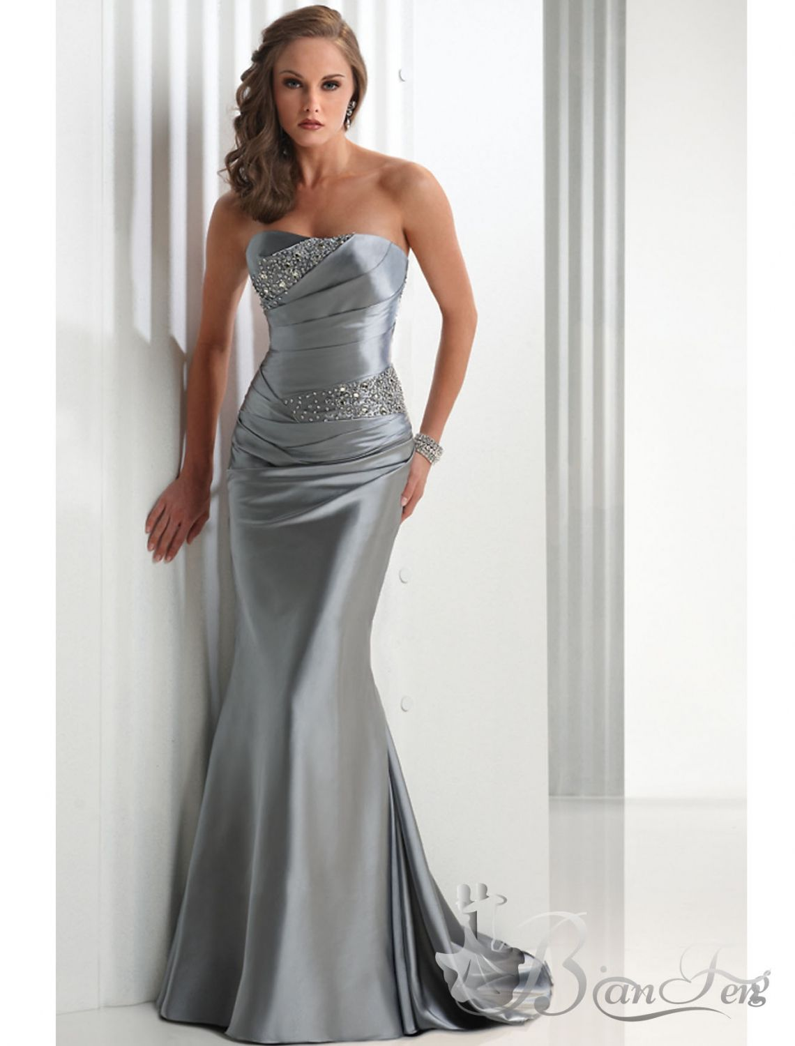 Elegant silver elastic satin strapless floor length prom dress us