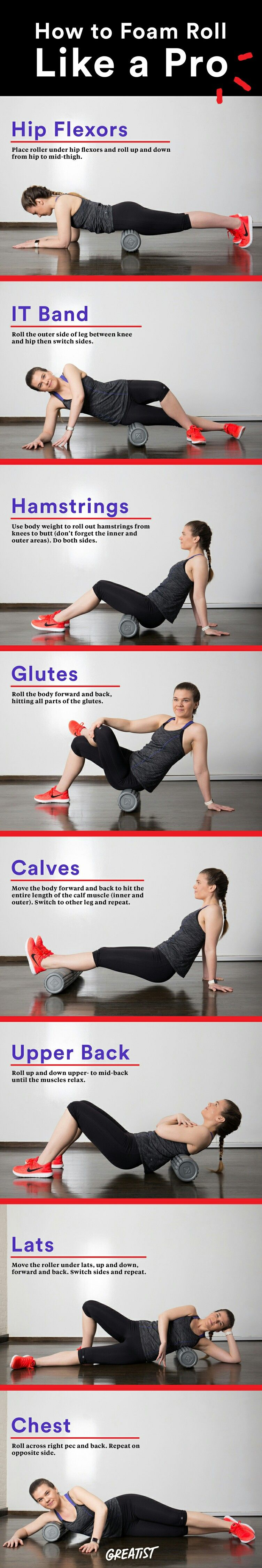 Foam roll massages for tight body areas (Psoas Strengthening Runners)