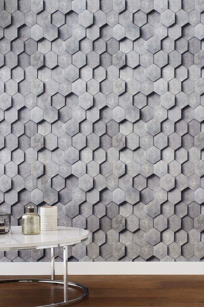 Next Paste The Wall Hexagonal 3D Wallpaper Grey 3d