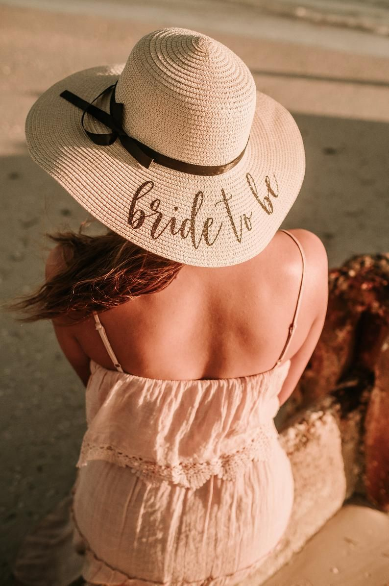 e1c26627 This floppy beach hat and personalized bride hat, personalized with 'bride  to be'