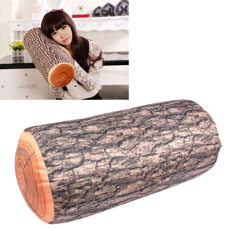 Cylindrical Wood Logs Shape Wooden Pillow Home Car Auto Cushion New Arrival LAD