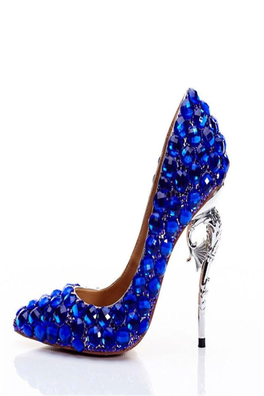 Wedding Pumps Women High Heels Crystal Royal Blue Shoes Metal Heels Rhinestone Luxury Bridal Stiletto Bridal Shoes Diamond Heels Bridal Sandals