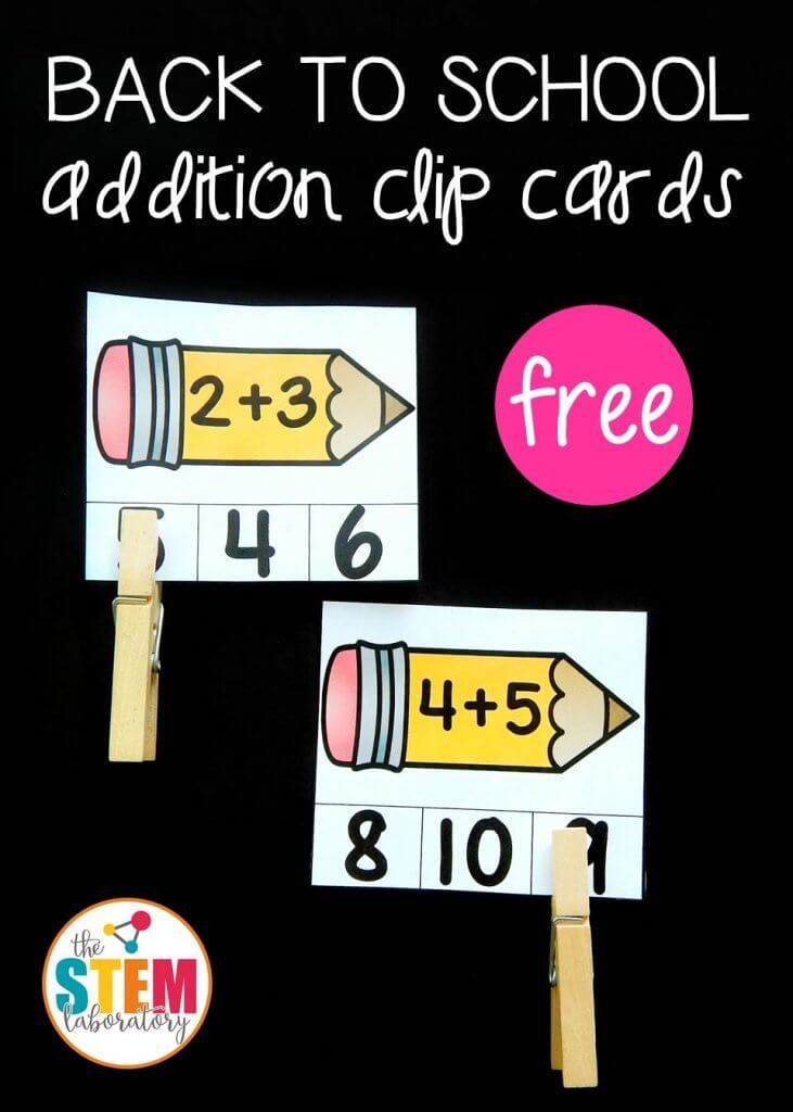 Ready or not, back to school season is upon us! We are making it even more fun by being prepared to start the year right with playful, hands-on math games like these Back to School Addition Clip Cards. They are a great way to review addition facts to 10, while sneaking in some fine motor work, too! Getting Ready Clip cards are one of my