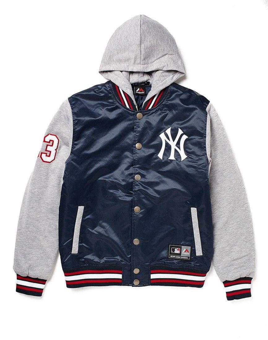 quality design 11db9 aab49 Majestic Athletic NY Yankees Varsity Jacket with Hood ...