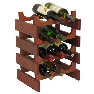 Symple Stuff Geis 12 Bottle Floor Wine Rack Finish Mahogany