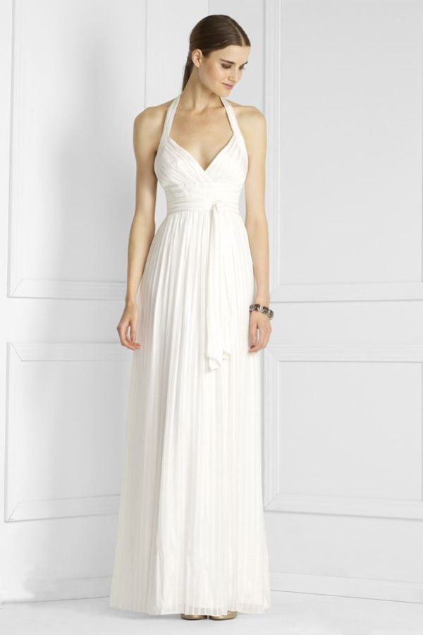 Wedding Dresses Lace Zac Posen Alluring Halter V Neck Sheath Column Empire Wasit Ankle Length Chiffon Satin Beach