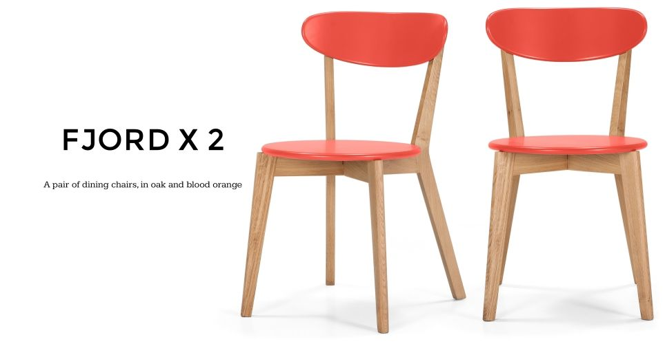 Pair Of Fjord Dining Chairs In Oak And Blood Orange Made Com