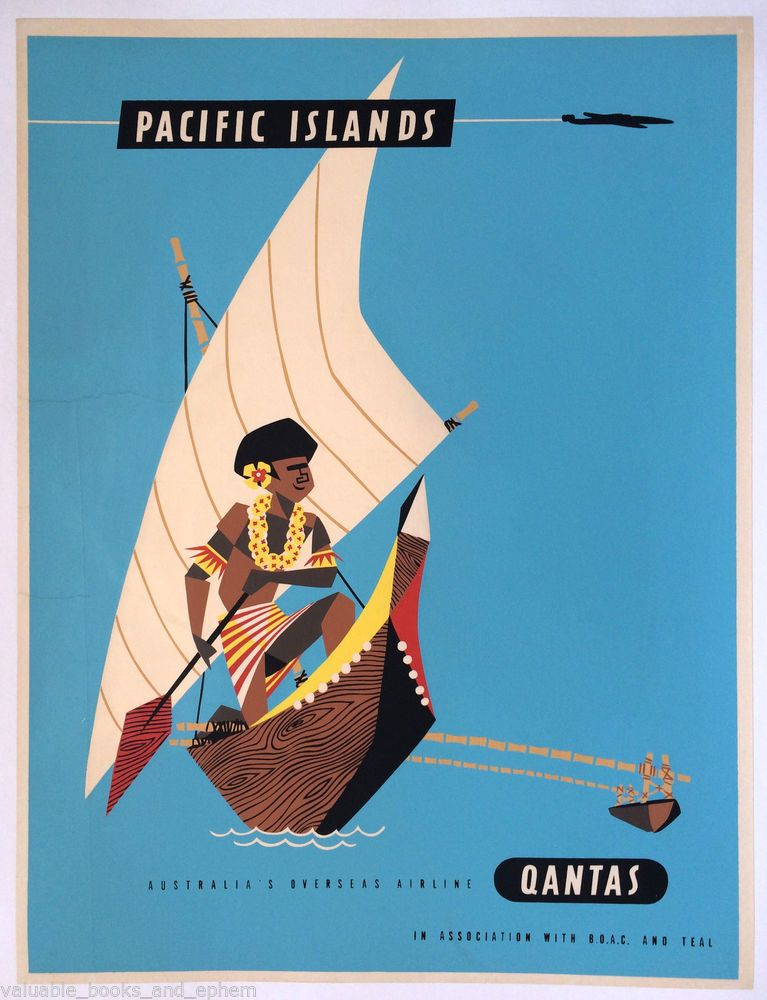 Pacific Islands Qantas  Vintage Australia art  Travel Poster Print painting