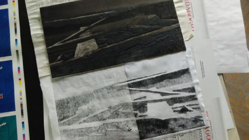 Laura Kozma: PRINTING Project - day 8 …finished collagraph plate -  boat with carborundum