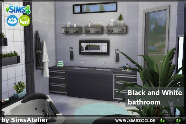 Blackys Sims 4 Zoo Black And White Bathroom By Simsatelier Sims 4 Downloads White Bathroom White Bathroom Rug Neutral Bathroom Colors