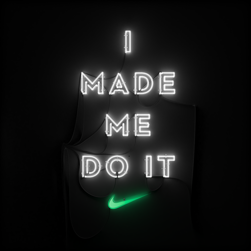 'I MADE ME DO IT ✔' NEON SIGN                                                                                                                                                                                                                  ๑෴MustBaSign෴๑