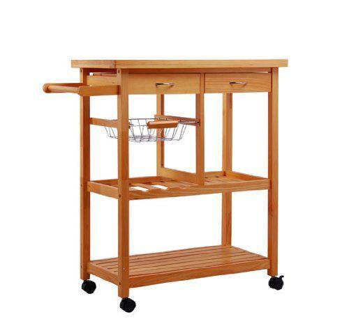 Amazon.com - HomCom Portable Wooden Rolling Storage Cart Kitchen Trolley w/ Drawers - Kitchen Storage Carts