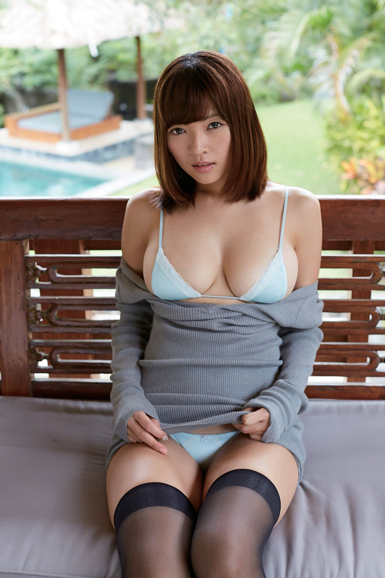 Mortgage pose spread her breasts photographer