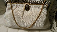 Vintage Langlois and Jargeais Evening Purse / Bag White Glass Beaded FABULOUS!!