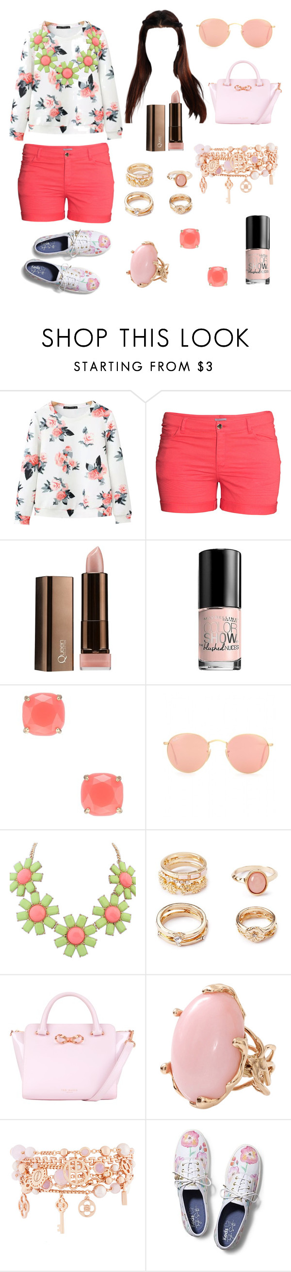 """""""Clinging to Summer"""" by evilbutchhag ❤ liked on Polyvore featuring Chicnova Fashion, H&M, COVERGIRL, Maybelline, Kate Spade, Ray-Ban, Forever 21, Ted Baker, Lucifer Vir Honestus and Henri Bendel"""