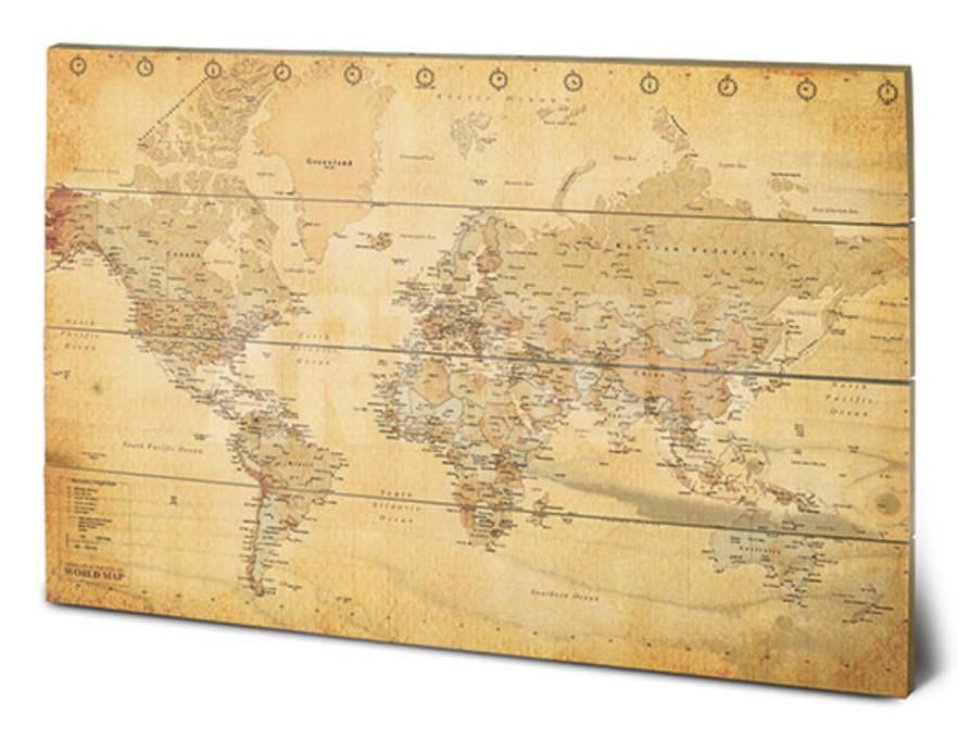 World Map (Vintage Style) Wood Sign at Art.com | Home Office ...